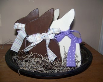 Set of 4 Wooden White and Milk Chocolate Easter Bunnies