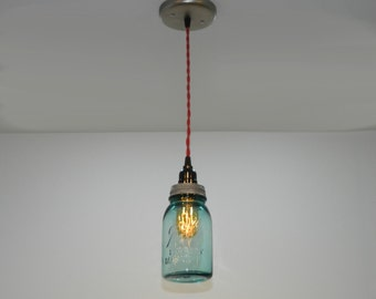 Antique Aqua Ball Mason Jar Hanging Pendant Light