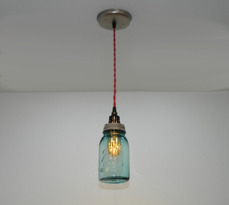 Mason Jar Lighting: Antique Aqua Ball Mason Jar Hanging Pendant Light