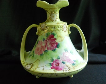Nippon Hand Painted Vase, 1890s, Roses, Yellow, Footed, Handles, Gold Gild