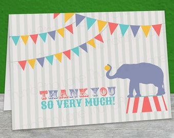Carnival Circus Printable Thank You Note Card, Instant Download