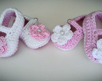Crochet Baby Girl Booties Twin Set, 2 pairs of  Mary Jane Booties, Pink and White