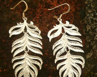 Earrings, silver plated leaf/ feather earrings