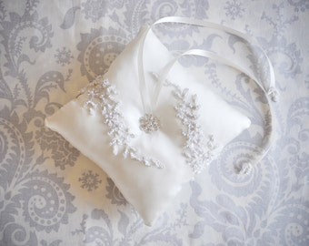 Ring Bearer Pillow, Ivory Lace Wedding Ring Pillow with Rhinestone center - 102P