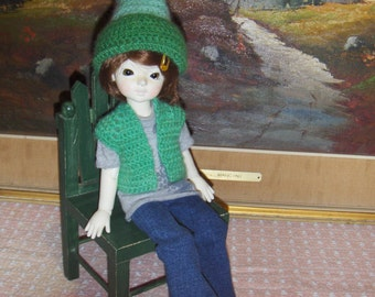 Doll Clothes Crochet Vest and Hat set for BJD 1/6 Yosd handmade Free Shipping 48 contiguous states
