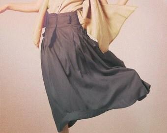 Linen Ruffle Skirt in Grey / Big Pocket Long Skirt  -Custom A8016