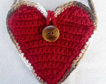 Red Heart Crochet Cell Phone Purse with Bamboo Button and Brown Accents