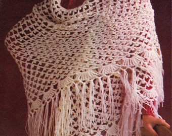 Vintage Crochet Pattern Spring Picot Lace Shawl Pdf instant download