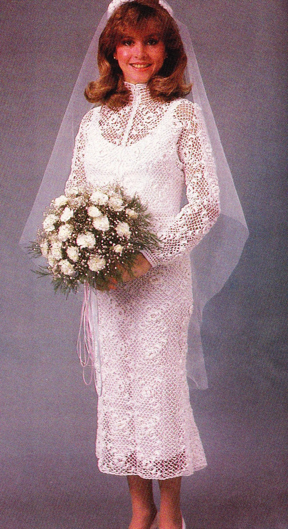 Items similar to vintage crochet irish lace wedding dress for Crochet lace wedding dress pattern