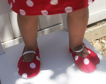 Baby Toddler Shoes Flats in White Polka Dots on Red