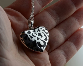 Heavy Sterling Black Heart Necklace, Nature Inspired Motif Sterling Jewelry