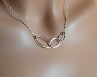 All Sterling Silver  Eternity Necklace, infinity three ring necklace infinity  jewelry
