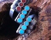 Dishta Zuni Circle Inlay : Stunning Vintage Design in Sterling Turquoise  Coral