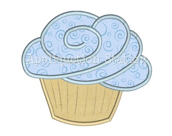 Birthday Cupcake Muffin Applique Machine Embroidery Download blue INSTANT DOWNLOAD