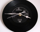 "The BEATLES ""I Feel Fine"" Vinyl Record CLOCK from original recycled 7"" record. Other Beatles tracks also available...."