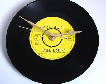 "KRAFTWERK ""Computer Love"" Vinyl Record CLOCK. From an original 7"" record. Gift for guys German electronic music fans moog"