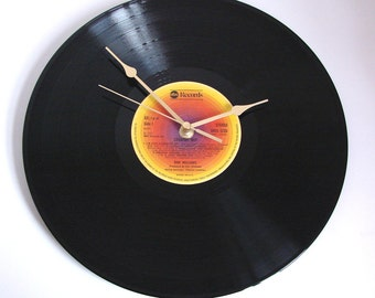 "Don Williams Vinyl Record CLOCK made from recycled 12"" album, ""Country Boy"". Country music homespun vinyl album Sunset rainbow colours"