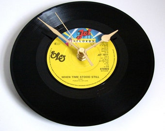 "ELO CLOCK ""When Time Stood Still"" Recycled 7"" single. Fun gift for Dad Birthday Anniversary 70s 80s pop gift for guys men girls"