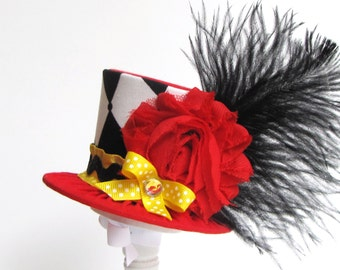 Mini Top Hat Headband, RINGMASTER, Alice in Wonderland themed Tea Party, Birthday, Costume, Photo Prop, by Truly Sweet Circus