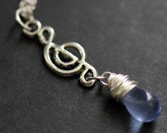 Treble Clef Necklace. Blue Teardrop Necklace. Musical Note Necklace. Music Necklace in Silver. Handmade Jewellery.