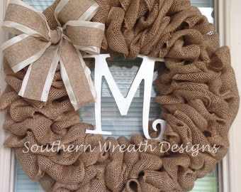 Burlap Initial Wreath with Bow