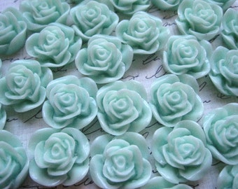 Resin Cabochon / 6 pcs Mint Green Resin Flowers / Rose Cabochons 22mm