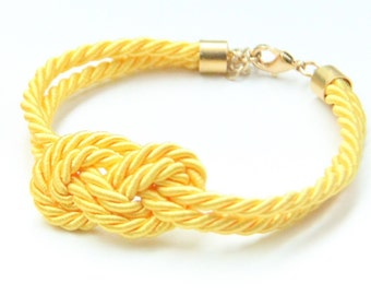 Arm party - Small Yellow silk Knot Bracelet - 24k gold plated