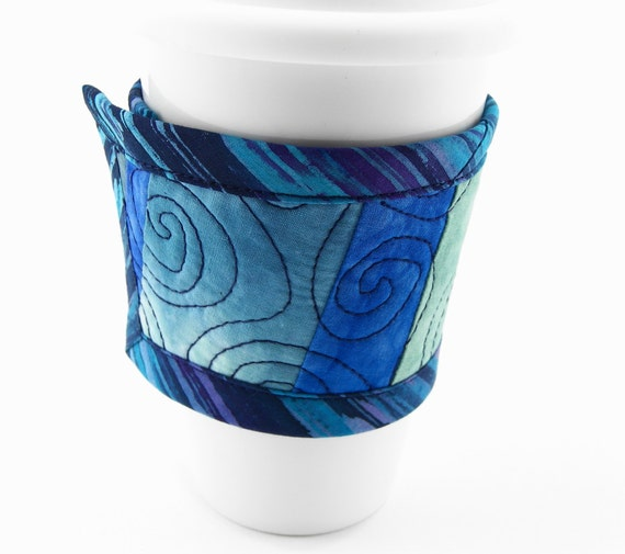 Quilted Coffee Sleeve, Cotton Cup Wrap, Reversible Coffee Cozy in Blue and Green Hand Dyed Fabrics