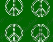 "peace sign set of 4 2"" - U Choose color Rhinestone Transfer Iron On Applique Bling Crystal cheer bows"