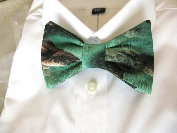 Bow tie gone fishing mens ties green tie by for Fish bow tie