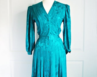 Vintage 80s emerald brocade silk dress/ teal green cocktail dress/ party dress/ Argenti Petites/ 100% silk