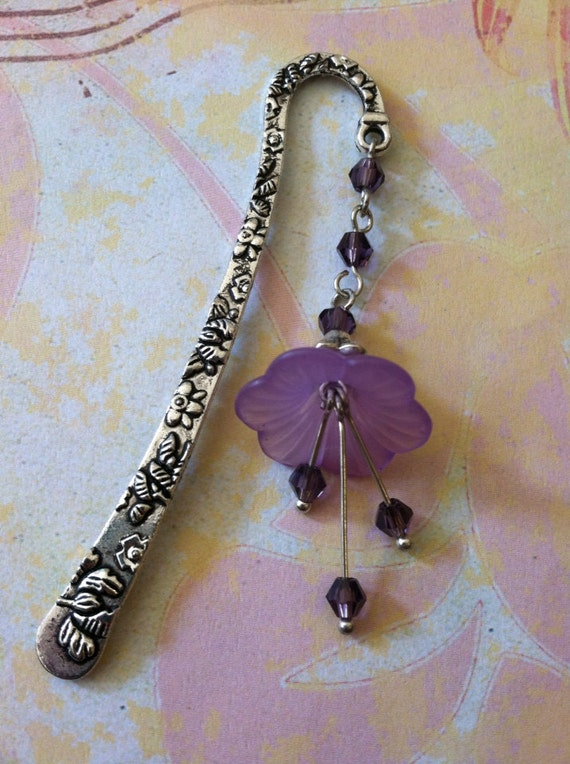 Purple Lucite Flower and Swarovski Crystal Bookmark