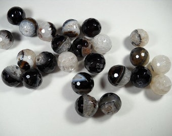 Black White Brown Lace Ice Agate Druzy Crystallized Faceted Round Ball Beads 15mm - 16mm