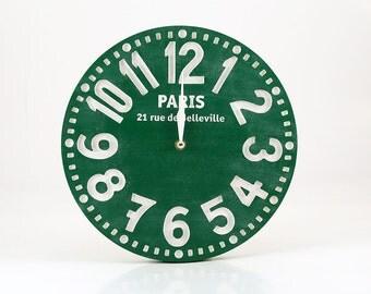 Large handmade pseudo vintage wall clock -Paris emerald green- // housewarming / graduation day gift // wedding registry // Free Shipping