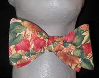 BOW TIE Floral Morning Glory Cotton Bowtie