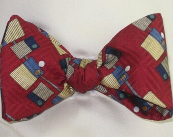 Mens SILK BOW TIE Blue, Grey, Tan, Gold, While on Red Interesting Without Being Too Wild Tasteful Versatile Bowtie