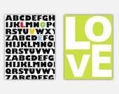 LOVE art prints- set of TWO 11x14 art prints, bright bold colors bedroom or nursery decor, baby girl wall art, alphabet magic abc abcd