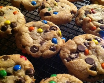 Hope for Brian-Chocolate Chip Cookies with M&M's-M/M Cookies-Chocolate Chip Cookies-Party Cookie Favors-Send Cookies-Back to School Cookies