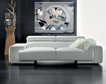 """Original Gallery Wrapped Acrylic on Canvas - World Map Sailing Original Painting - Black and White Original Painting - 30"""" X 36"""" X 2"""""""