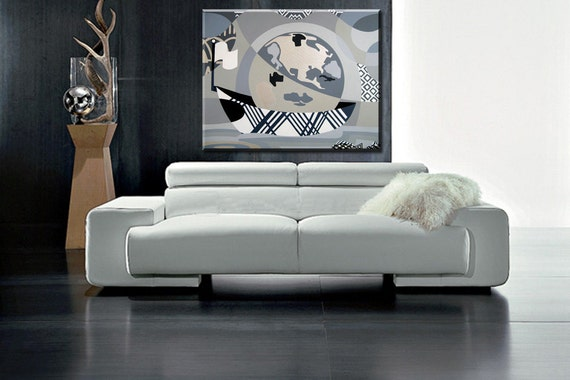 "Original Gallery Wrapped Acrylic on Canvas - World Map Sailing Original Painting - Black and White Original Painting - 30"" X 36"" X 2"""
