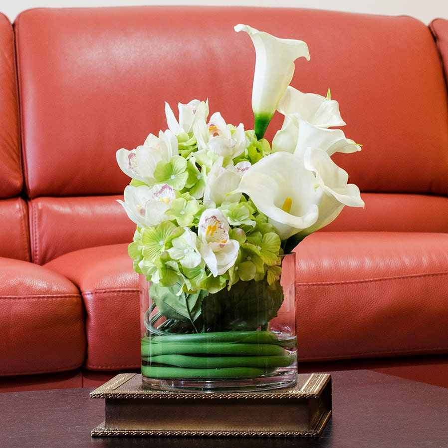Real Touch Calla Lily Arrangement Hydrangea Arrangement By Flovery