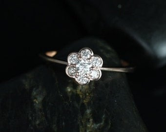 Daisy 14kt Rose Gold WITHOUT Milgrained Flower Diamond Cluster Ring (Other Metal Options Available)