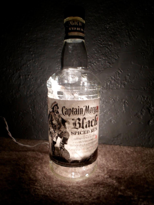 lighted captain morgan black glass bottle by. Black Bedroom Furniture Sets. Home Design Ideas