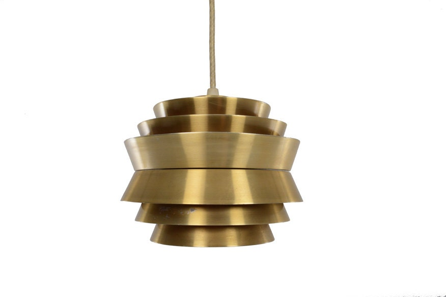 mini danish mid century modern brass ufo pendant lamp. Black Bedroom Furniture Sets. Home Design Ideas