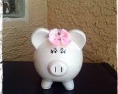 Customized Cheetah/pink princess with bow piggy bank