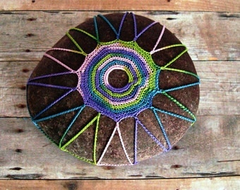 Tribal Crochet Stone, Table Decorations, Pink, Purple, Lime, Teal, Cotton Thread, Beach Art, OOAK Handmade, Tiny Stitches, Unique Gift