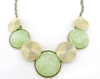 Gorgeous Gold-tone Key Lime/Pink Round Stone Funky Statement Necklace