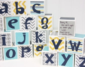 Alphabet Baby Shower Blocks - Guest Letters Advice to Baby - Set of 26 - Centerpieces