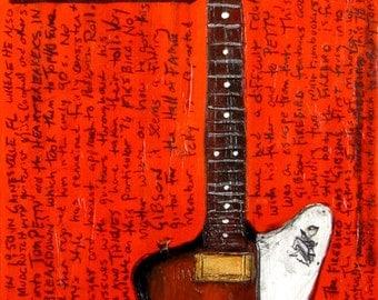Tom Petty Gibson Firebird electric guitar art print