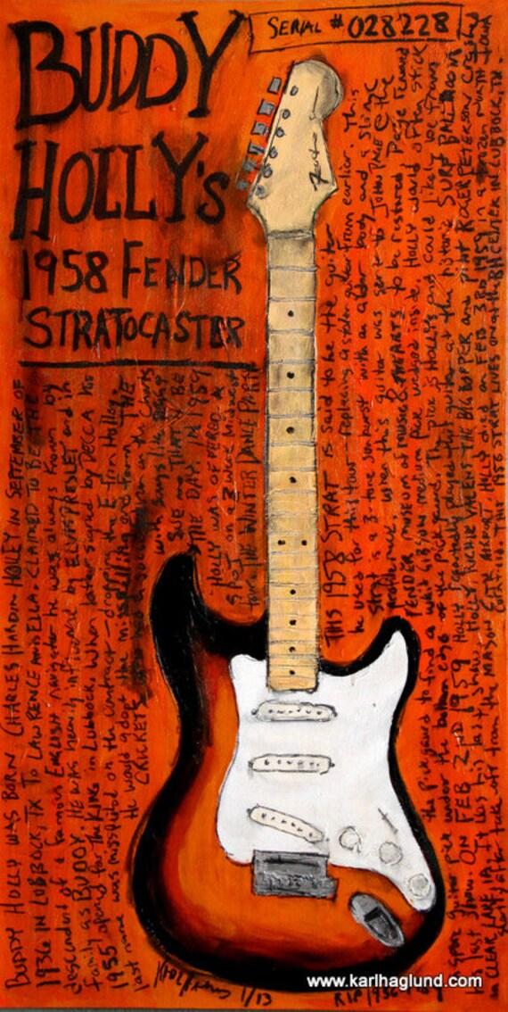 Art. Buddy Holly Art. Guitar Poster. 1958 Fender Strat electric guitar ... Buddy Holly Electric Guitar